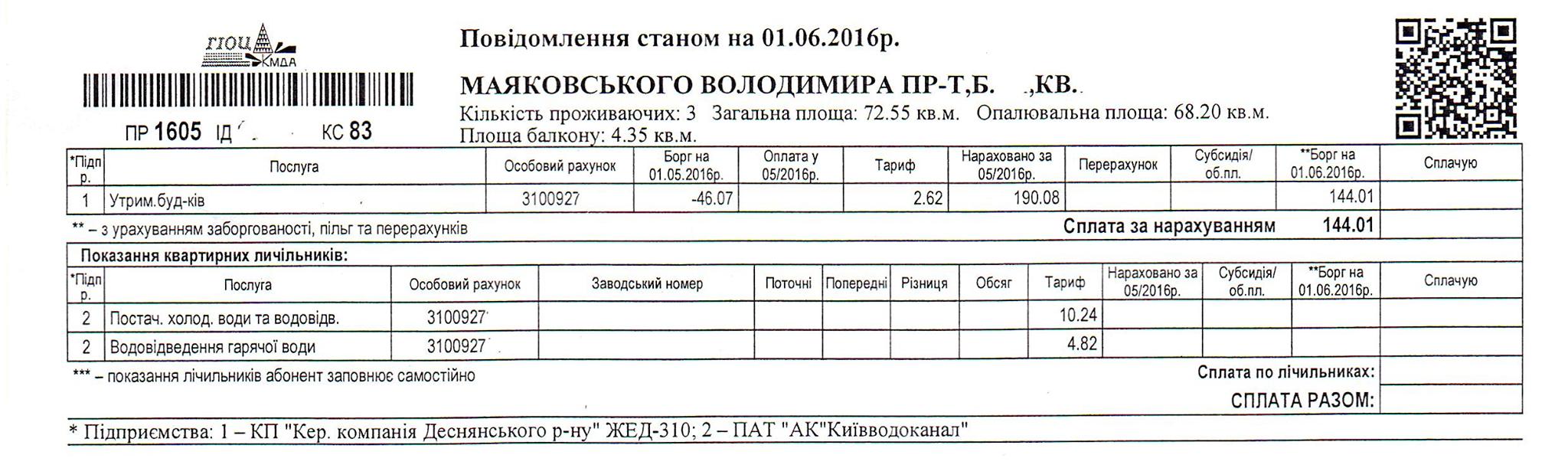 бланк квитанция на оплату воды по счетчику
